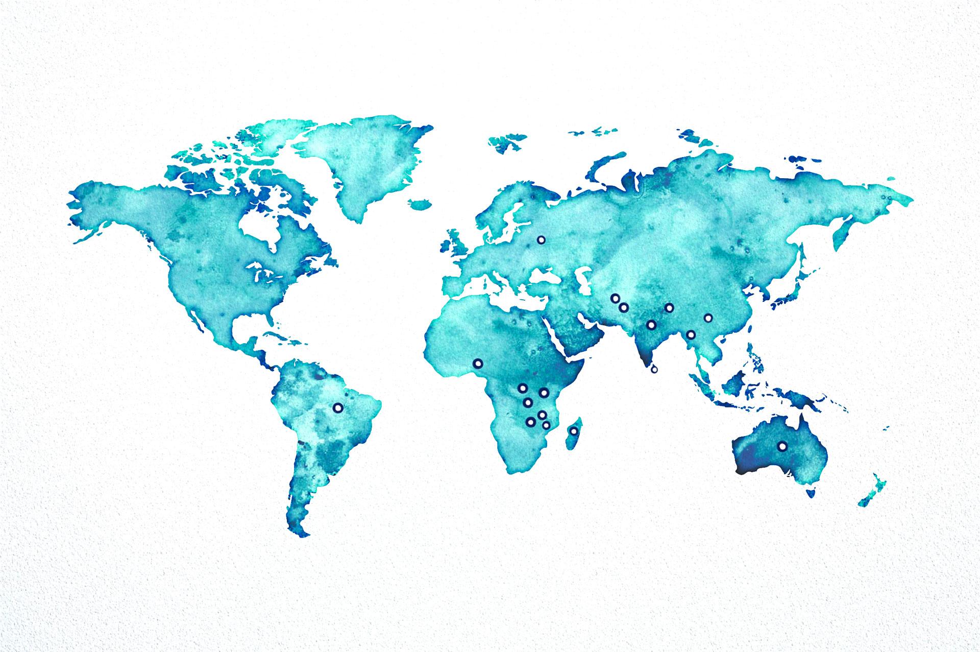 carte du monde de la production de tourmaline
